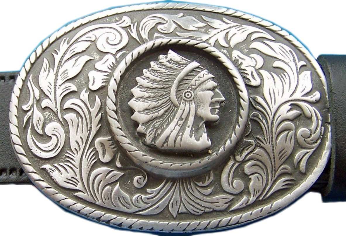 Belt Buckle Native American Indian Chief Rodeo Cowboy Western