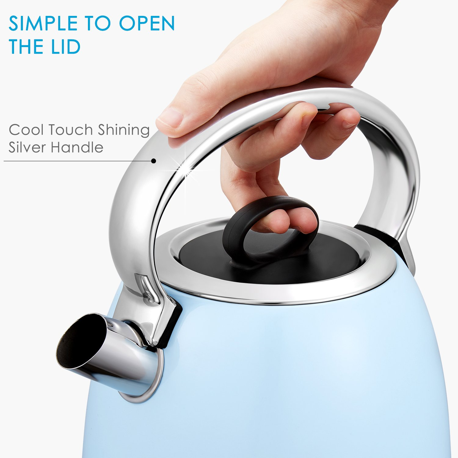 Electric Kettle, Aicok 3000W Fast Boil Tea Kettle, 1.7L Retro Dome Jug Kettle with Auto Off and Boil Dry Protection, 304 Stainless Steel Water Boiler with Anti-Fading PowderBlue Coating