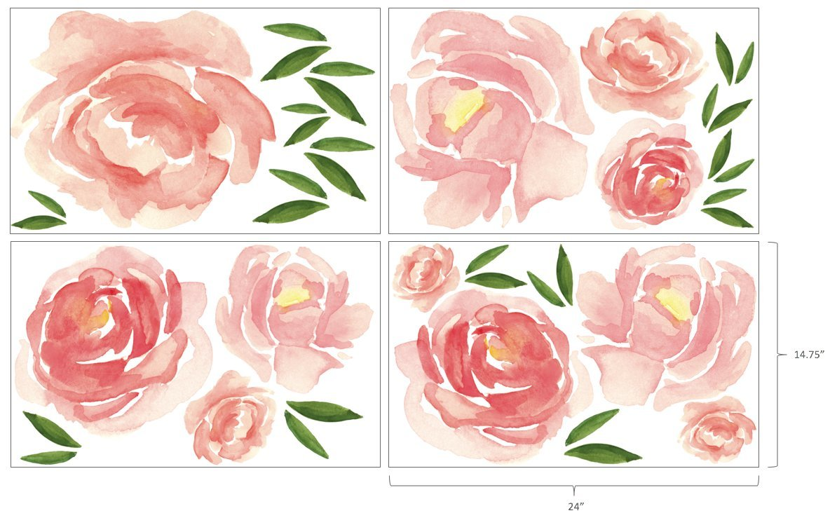Better Than Paint E116374 Faster & Easier Than Stenciling, Painting Or Wallpaper: This Is Not A Decal, This Is An Art Transfer Watercolor Blooms Wall Décor Fast & Easy, Pink by Better Than Paint (Image #6)