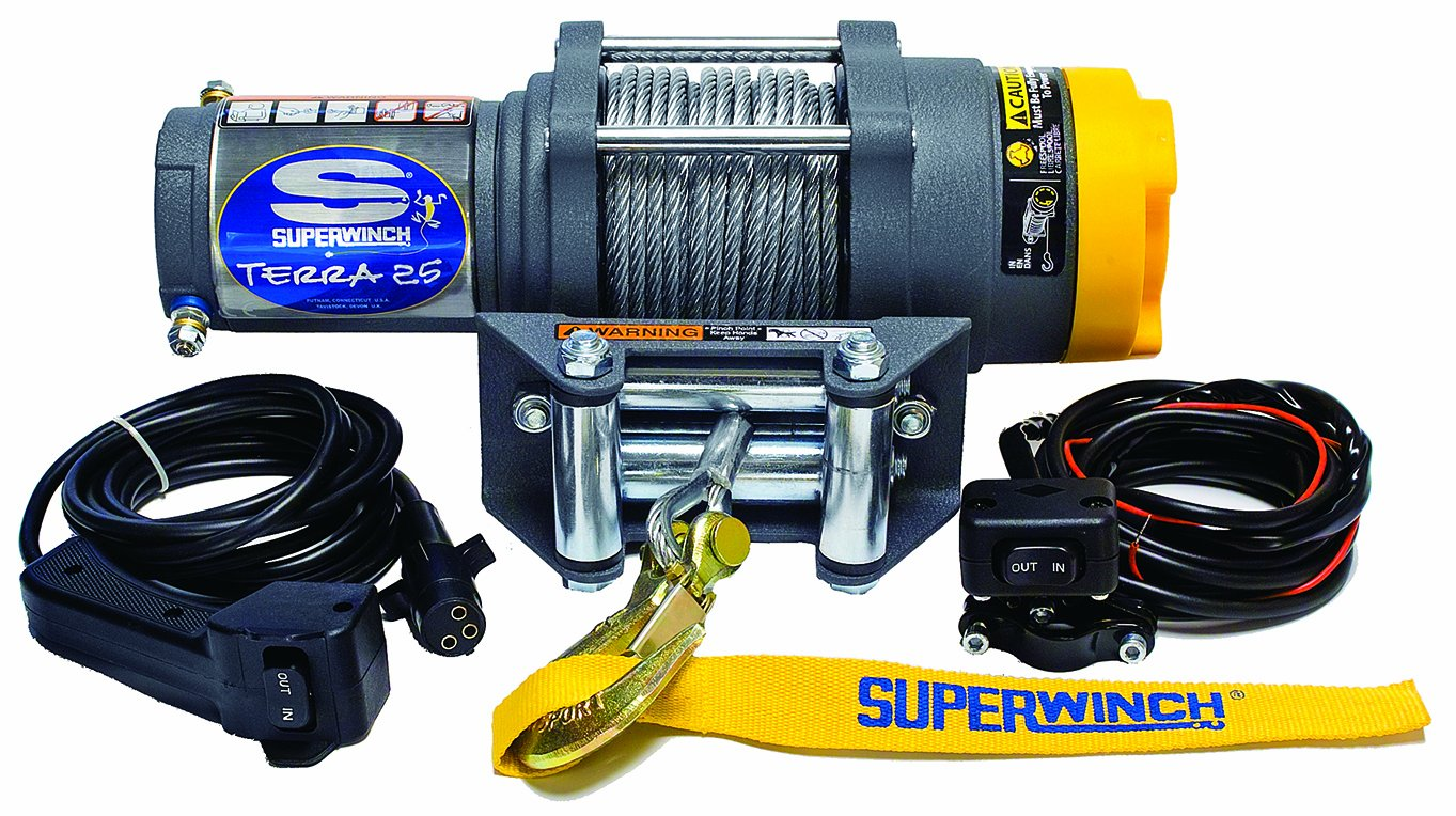 Superwinch 1125230 Terra 25 2500lb 1134kg Single Line 2500 Wiring Diagram Pull With Hawse Handlebar Mnt Toggle Handheld Remote And Synthetic Rope Automotive