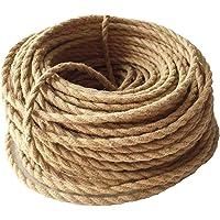 Cable textil de GreenSun, cable de lámpara de 3 hilos, 5 m, 3 x 0,75 mm², cuerda de cáñamo con cable, cable de tela…