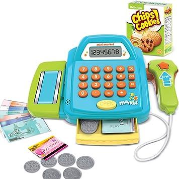 MAJOZ Caja registradora de Juguete para niños con calculadora,Tarjeta de crédito y un cajón con Cerradura con el Dinero, Comida de Juguete (Verde): Amazon.es: Juguetes y juegos