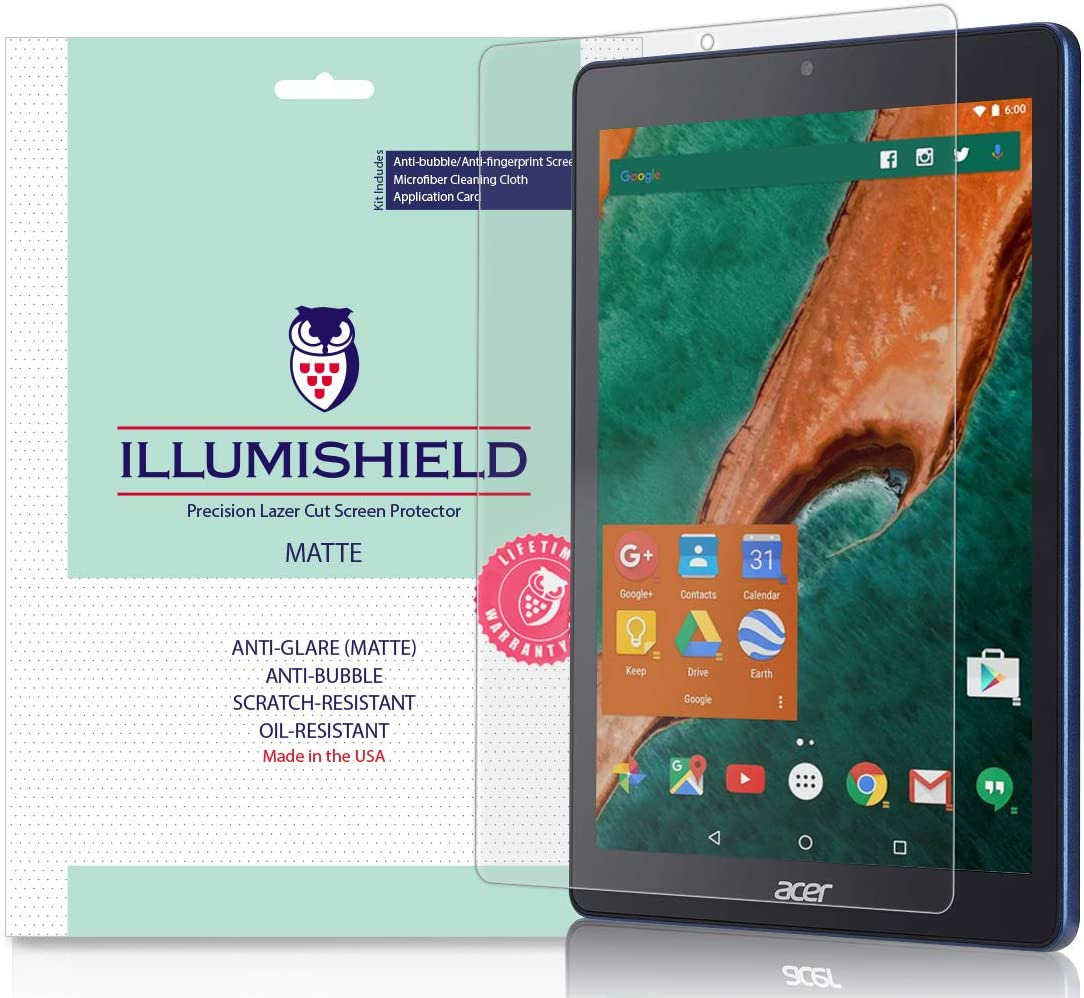 iLLumiShield Matte Screen Protector Compatible with Acer Chromebook Tab 10 (2-Pack) Anti-Glare Shield Anti-Bubble and Anti-Fingerprint PET Film