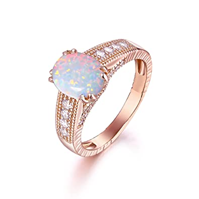 Amazoncom 18K Gold Plated Rose Gold White Fire Opal Engagement