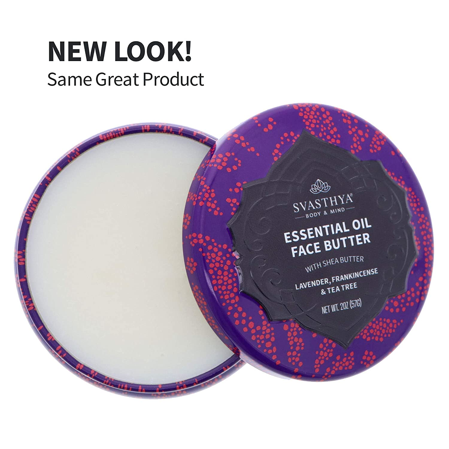 SVASTHYA BODY & MIND Essential Oil Face Butter - Naturally Nurtures Skin & Restores Complexion, Has Shea Butter, Coconut, Argan & Grapeseed Oil, Made In The USA, (2 oz)