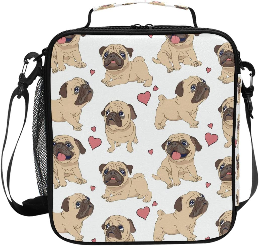 Lunch Box Bag Insulated Lunch Tote Funny Pugs Dog Pink Love Heart Thermal Cooler Shoulder Strap Portable Food Container Travel Office School Picnic For Women Kids Children