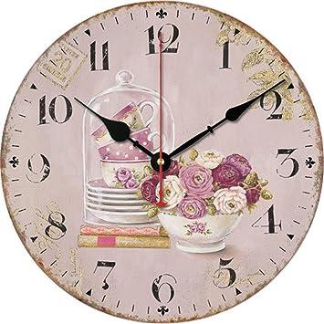 FortuneVin Reloj de Pared Moderno Decoración Adorno para Hogar Reloj de Cocina Unión Retro Digital,34cm: Amazon.es: Hogar
