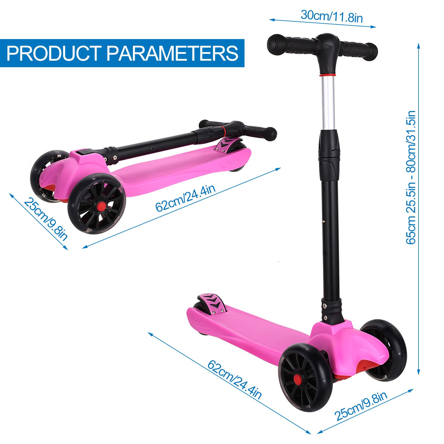 Amazon.com : Anfan 3 Wheels Kids Kick Scooter, Mini Push Scooter With LED Flashing Wheels, Adjustable Heights for Childen Girls Boys 3-12 Years (US STOCK) ...