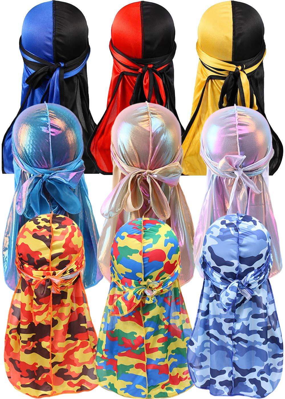 YI HENG MEI 2PCS/3PCS 360,540,720 Waves Color Block Silky Long Tail Durag Bandana Turban (9pcs/Set)