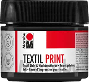Marabu 17030050974 – Textil Print negro lámpara 100 ml, colador y pintura de alta presión a base de agua, inodoro y resistente a la luz, largo tiempo de apertura, para tejidos claros y oscuros.