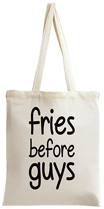 f31fa9cebf Fries Before Guys Slogan Tote Bag: Amazon.co.uk: Shoes & Bags