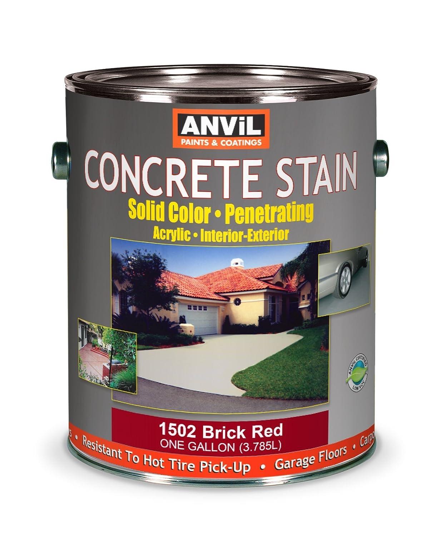 delicate Anvil 1500 Series Acrylic Solid Color Interior/Exterior Concrete Stain - Brick Red 1 Gallon