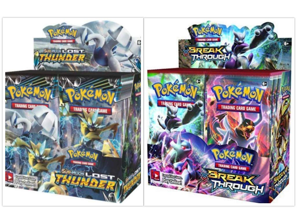 Pokémon TCG Sun & Moon Lost Thunder Booster Box + XY Breakthrough Booster Box Pokémon Trading Cards Game Bundle, 1 of Each.