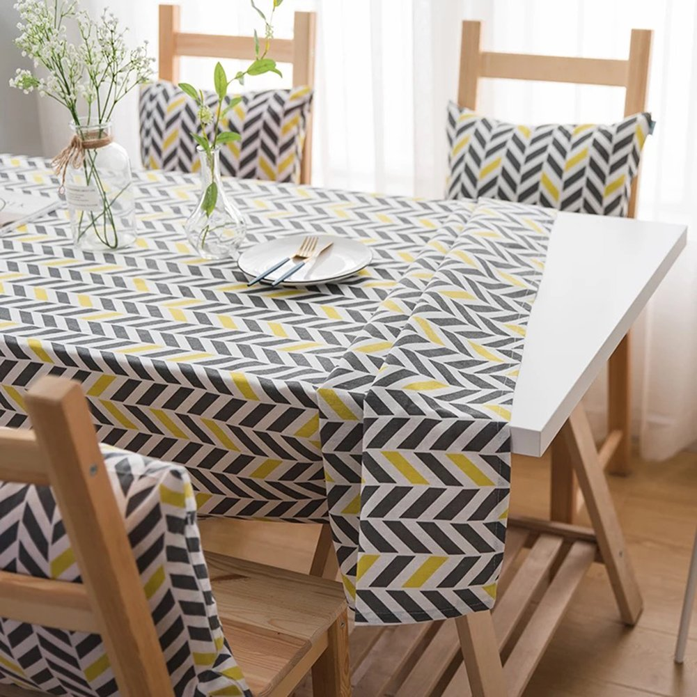 ColorBird Geometric Series Tablecloth Triangle Pattern Cotton Linen Dust-Proof Table Cover for Kitchen Dinning Tabletop Linen Decor Square, 55 x 55Inch, Colorful Triangle