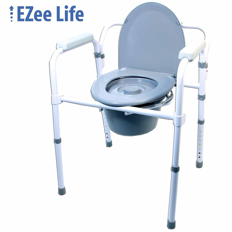 Ezee Life Stationary Steel Commode - Folding Factory Direct Medical