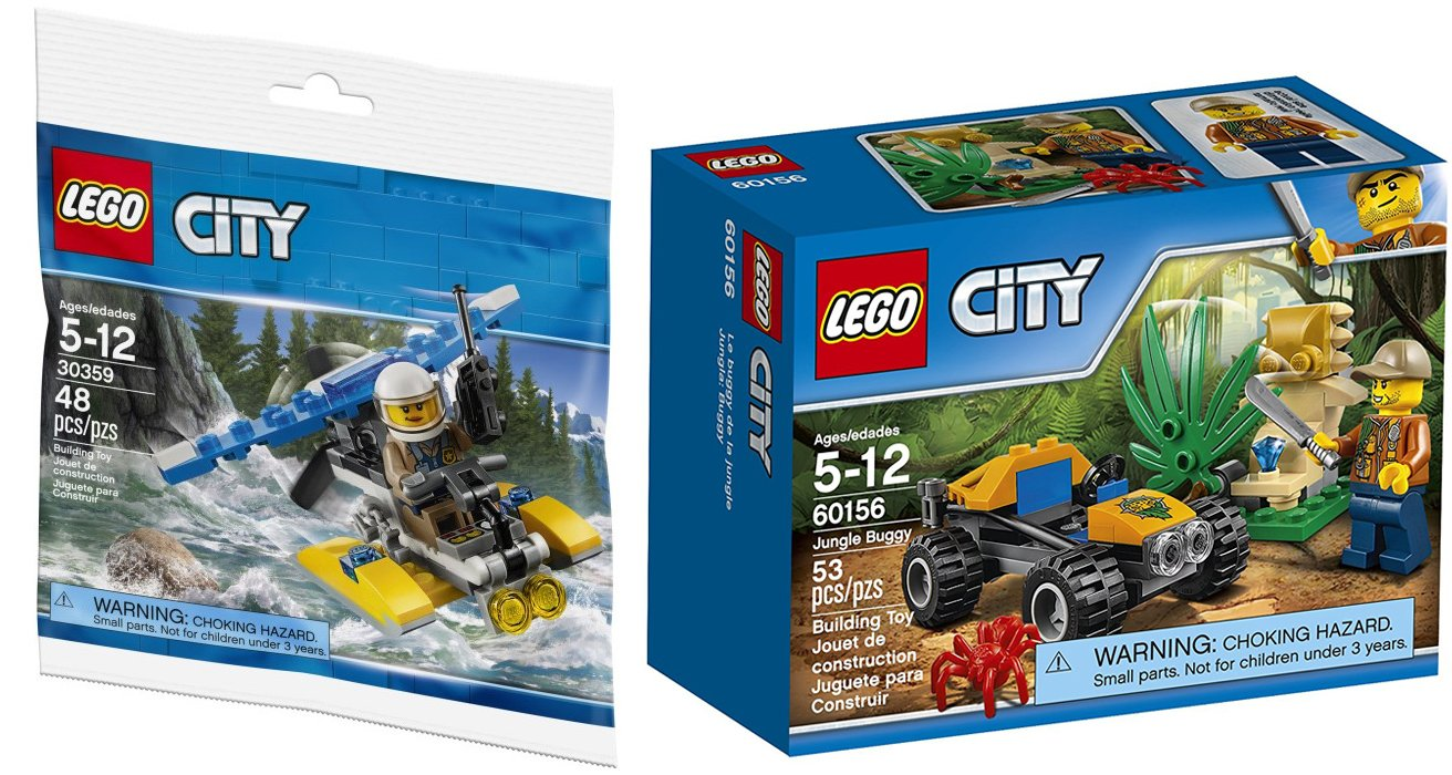 AYB Products Adventure City Blocks Police Water Plane Set 30359 Bag Jungle Buggy Jeep with Mini Figure Bundle 2-Pack CD AYB