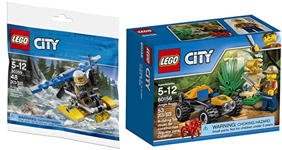 Amazon.com: AYB Products Adventure City Blocks Police Water Plane Set 30359 Bag + Jungle Buggy Jeep with Mini Figure Bundle 2-Pack: Toys & Games