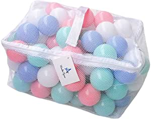 Wonder Space Soft Pit Balls, Smooth Crush-Proof Plastic Ocean Ball, Phthalate & BPA Chemicals Free with No Smell, Safe for Toddler Ball Pit/ Kiddie Pool/ Indoor Baby Playpen, Pack of 100 (Mixed - Pastel)