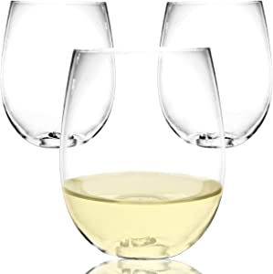 Youngever 9 pack Shatterproof Plastic Wine Glasses 18 Ounce, Plastic White Wine Glasses, Unbreakable Plastic Wine Glasses, Recyclable Wine Plastic Cups, Stemless, Disposable Wine Glasses