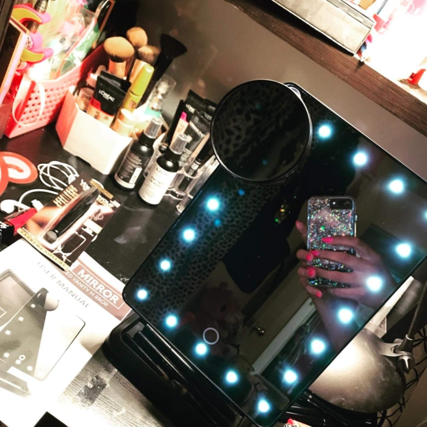 Makeup Mirror with Lights and Bluetooth - Vanity Mirror with Lights with 10X Magnifying, Cosmetic Mirror with 20 LED Lights,180° Rotation,USB Charging(Black)