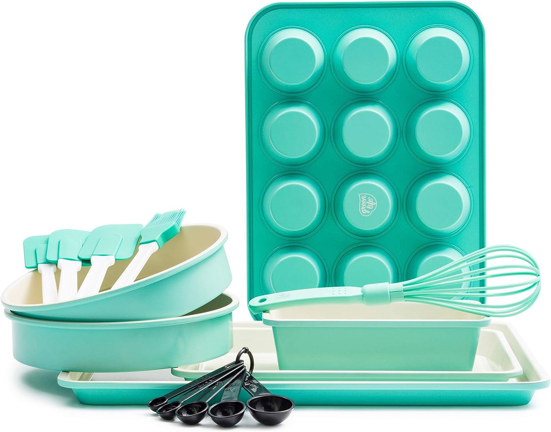GreenLife CC002429-001 Bakeware Ceramic Baking Set, 12pc, Turquoise