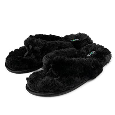 9dc52a4f3f9 Roxoni Fuzzy House Slippers for Women – Comfortable Furry Spa Thongs – Cozy  Slip On Flip