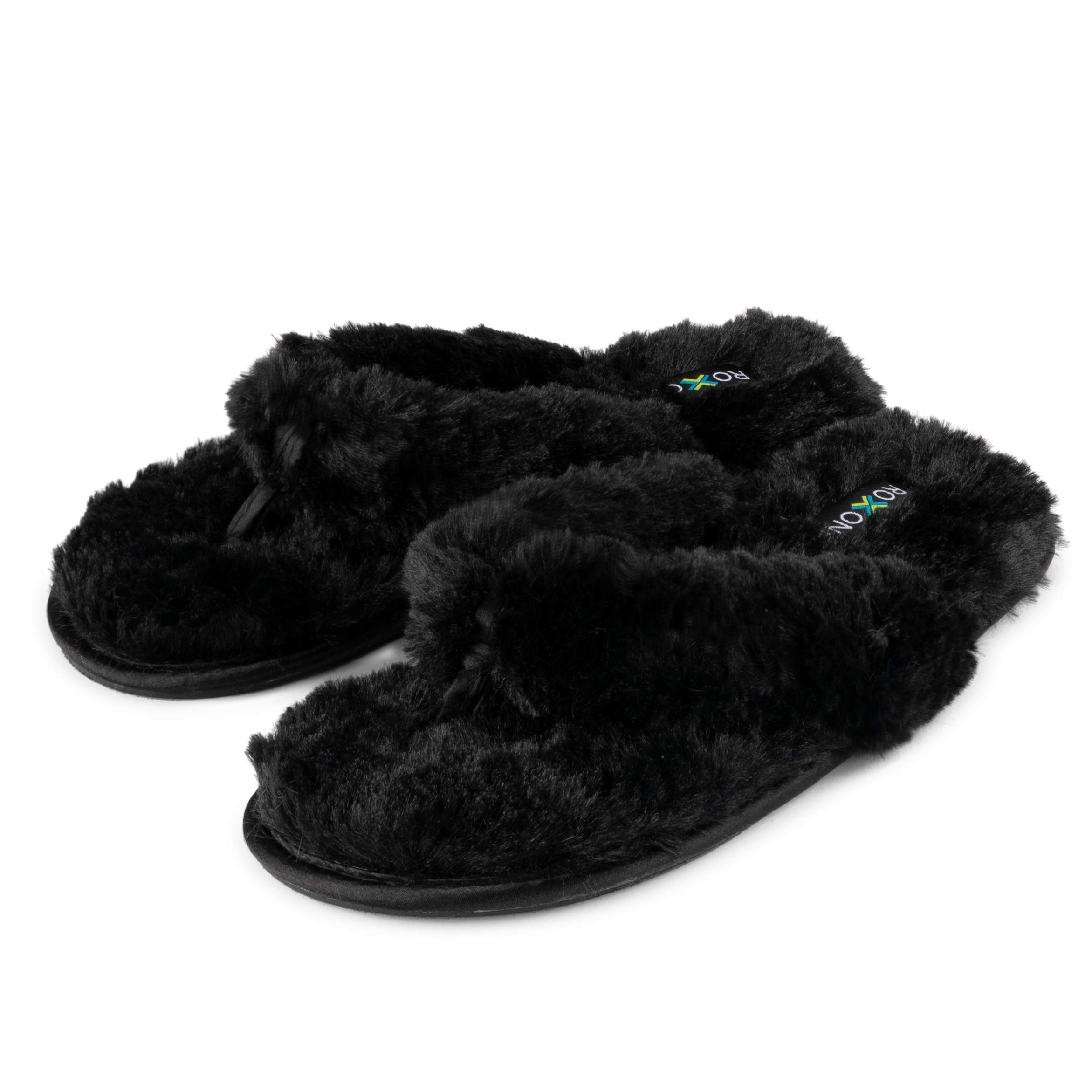 6c300535c1e105 Roxoni Fuzzy House Slippers for Women – Comfortable Furry Spa Thongs – Cozy  Slip On Flip Flops - Soft Insole   Rubber Outsole Black