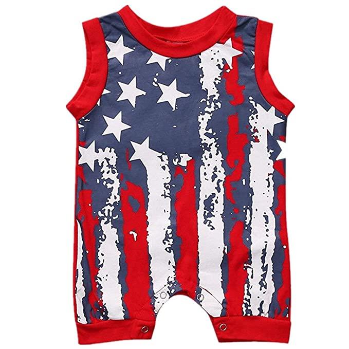 ae6d3cc010b Baby Boys Girls American Flag Sleeveless Romper Jumpsuit Cotton Bodysuit  Outfit size 0-6 Months