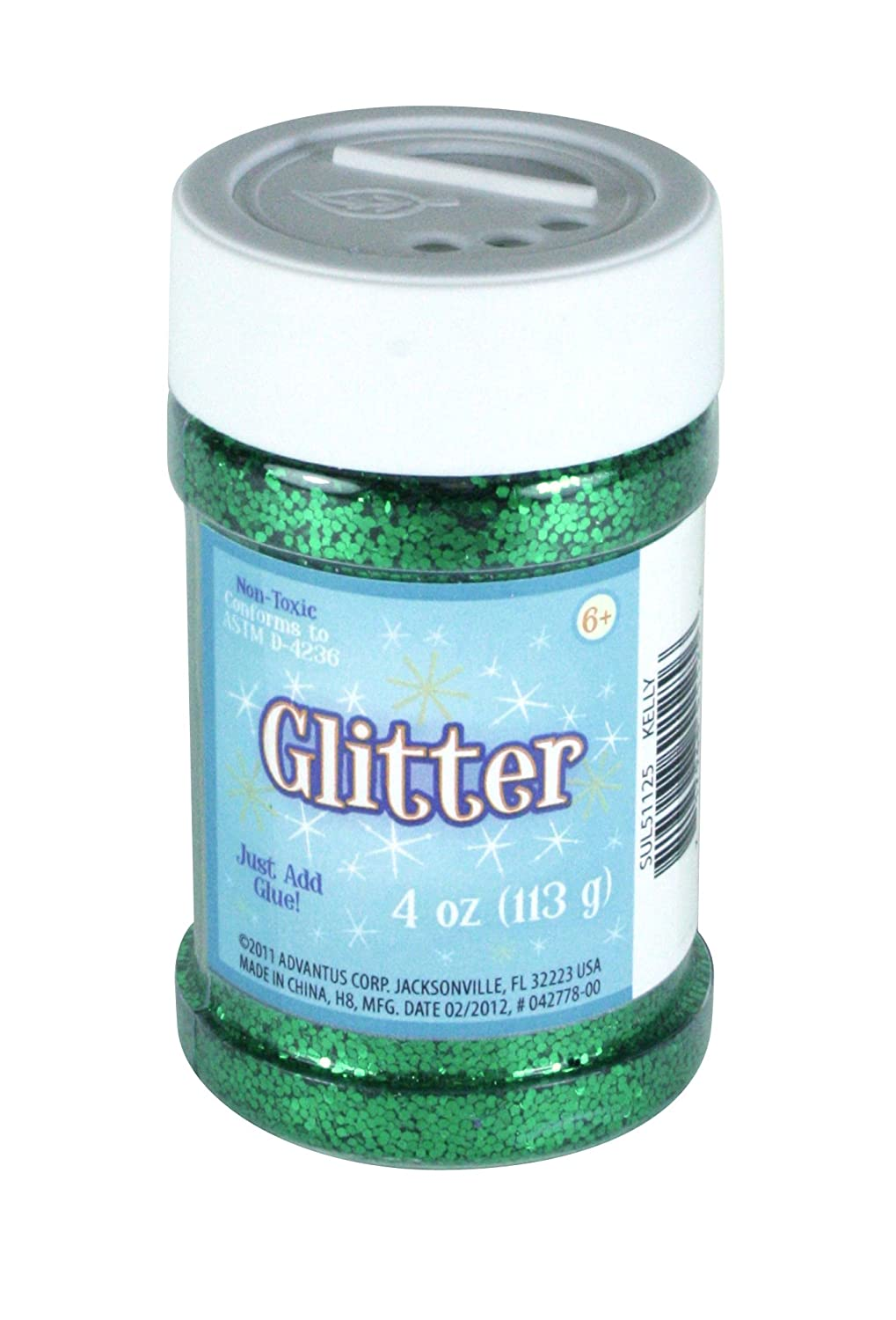 Sulyn Kelly Green Glitter Jar, 4 ounces, Non-Toxic, Reusable Jar with Easy to Use Shaker Top, Multiple Slot Openings for Easy Dispensing and Mess Reduction, Green Glitter, SUL51125