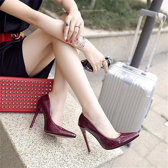 High Heels Schuhe Farbe Größe Frauen schuh wies Sehne Ende party Frauen schuh, Claret, 36