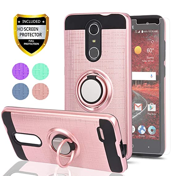 sports shoes e5ace 23df3 ZTE Grand X4 Z956 Case,ZTE Blade Spark Z971 Case with HD Phone Screen  Protector,Ymhxcy 360 Degree Rotating Ring & Bracket Dual Layer Resistant  Back ...