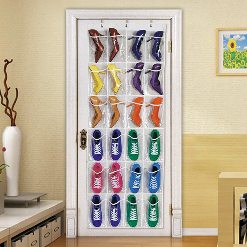 24 bolsillos grandes de malla, multifunción para colgar en la puerta, organizador de zapatos, estante de almacenamiento para armario de pared Tamaño libre azul Tookie