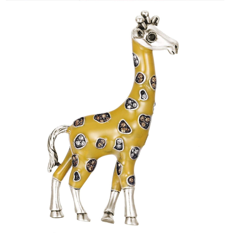 Clearine Femme Broche Bijoux Fantaisie Animal Girafe Mignon Cristal