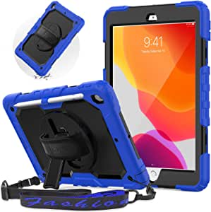 SEYMAC iPad 10.2 Inch 2019 Estuche, Estuche para iPad 7th Generation 10.2 2019 con Soporte Giratorio/Correa para el Hombro/Correa para la Mano para iPad Estuche 10.2 Pulgadas (Azul/Negro): Amazon.es: Electrónica