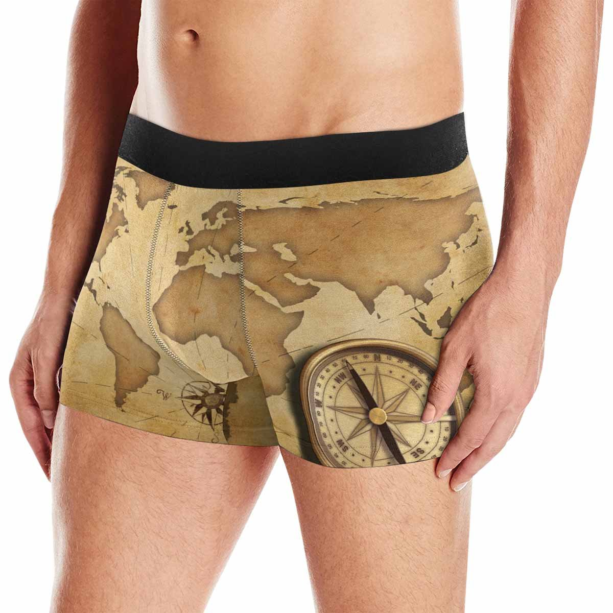 XS-3XL INTERESTPRINT Mens Boxer Briefs Underwear Aged Brass Antique Nautical Pocket Compass with Old Map