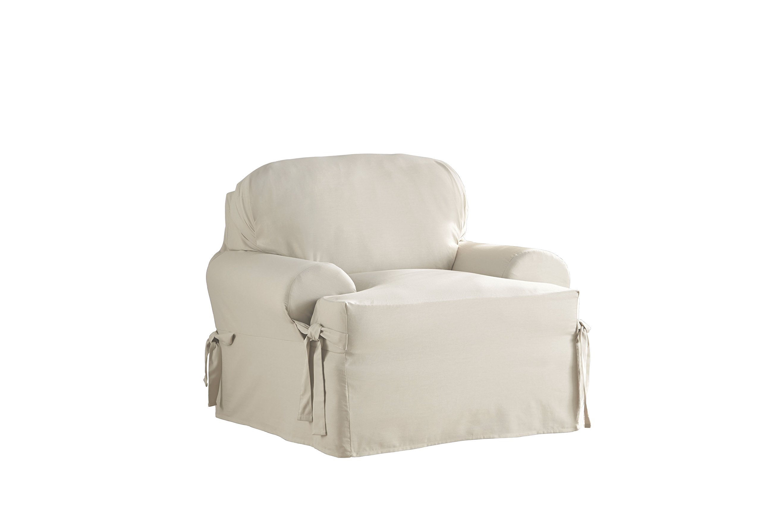 Serta Relaxed Fit Duck Slipcover T Cushion Chair and Ottoman Set, Parchment, 2 Piece