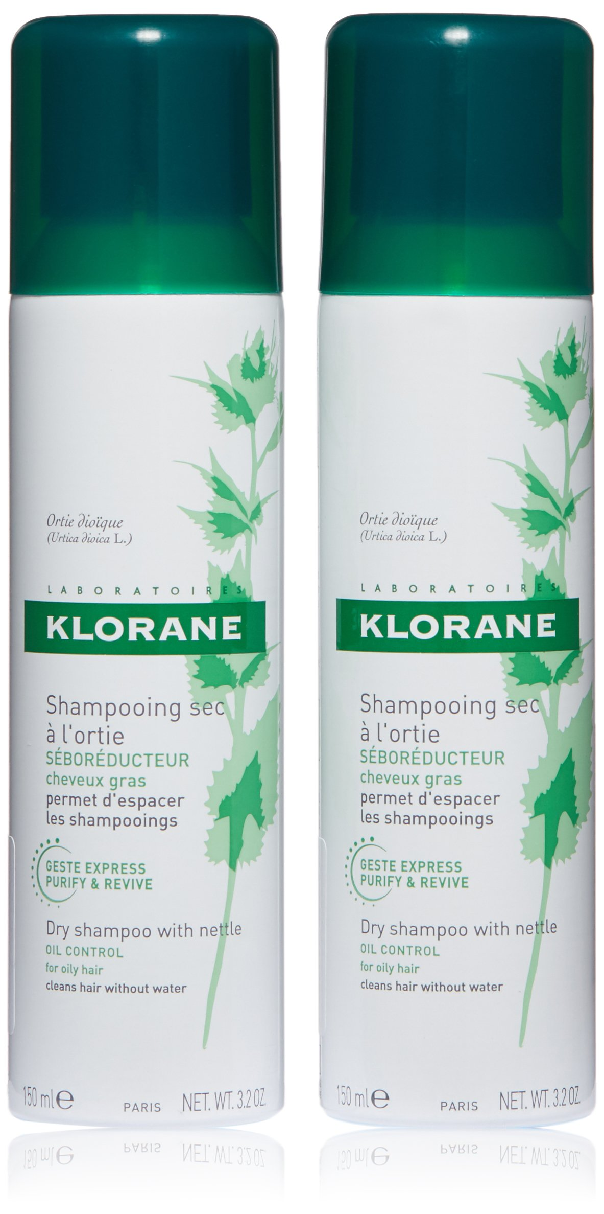 Klorane Dry Shampoo with Nettle for Oily Hair and Scalp, Regulates Oil Production, Paraben & Sulfate-Free, Pack of 2 by Klorane
