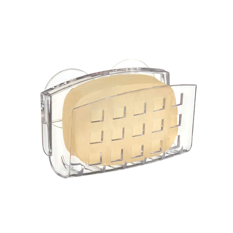 Porta esponjas y estropajos Fabricado en pl/ástico InterDesign Basic Jabonera con Ventosa Transparente