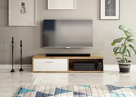Mueble de TV de 140 cm Tila Estilo escandinavo de Madera y Blanco: Amazon.es: Hogar
