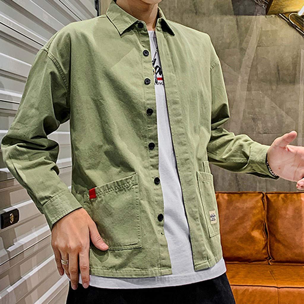 IHGTZS Shirts for Men Mens New Casual Fashion Pocket Workwear Letter Print Lapel Long Sleeve Tops