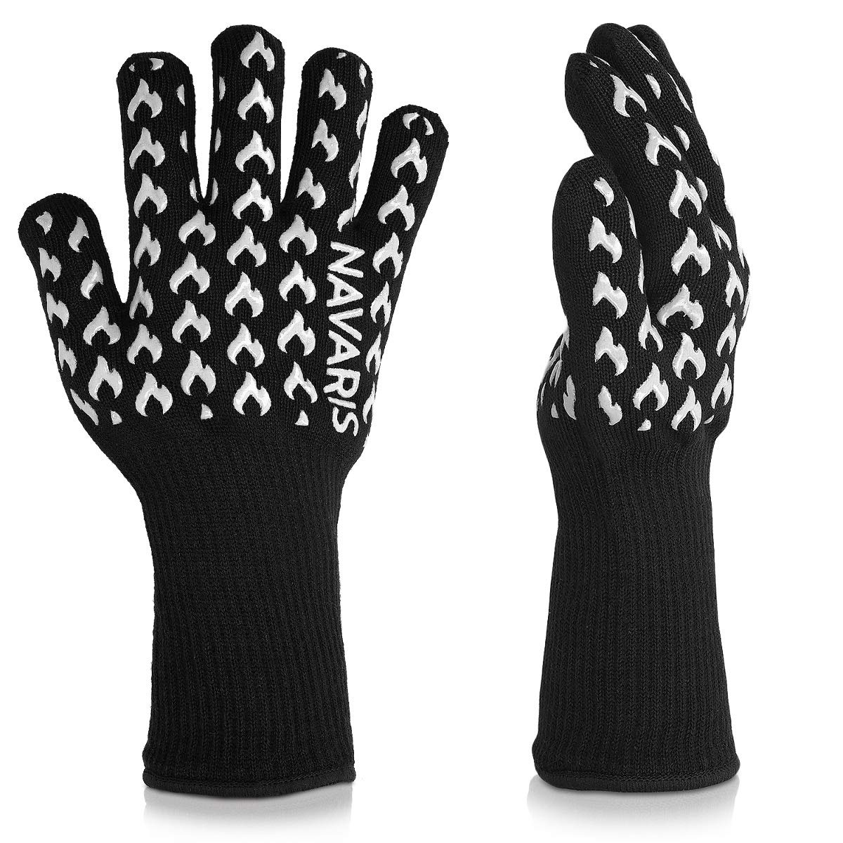 Navaris Extreme Heat Resistant Grill Gloves - BBQ Gloves for Cooking, Grilling, Baking, Smoking up to 932°F / 500°C - 1 Pair of Kitchen Oven Mitts