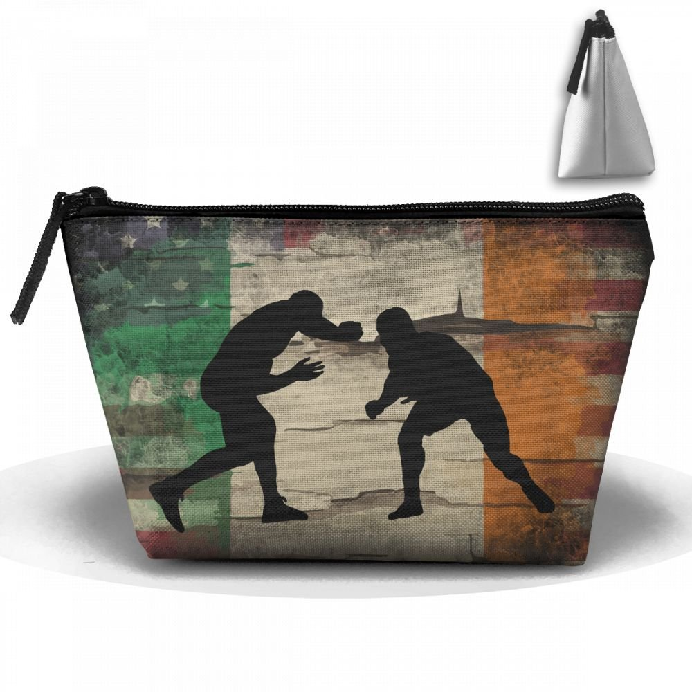 Retro Irish American Flag Wrestling Makeup Storage Holder Travel Cases Cosmetic Bags Large Capacity