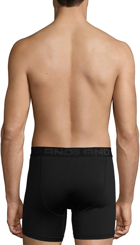 "AND1 Mens Performance Boxer Briefs Long Leg Underwear 5 Pack M 32-34/"""