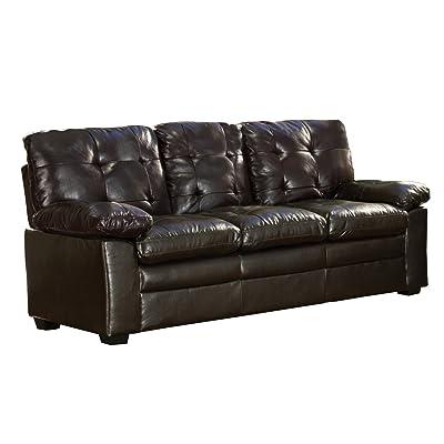 "Homelegance Charley 80"" Faux Leather Upholstered Sofa, Dark Brown"