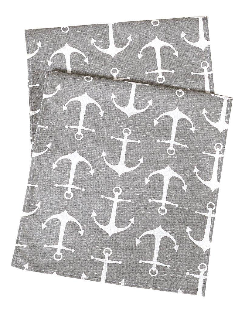 Decorative Things Cloth Napkins Linen Napkins Dinner Napkins Beach Party Nautical Anchor Gray Set of 4