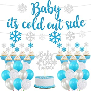 Baby It's Cold Outside Party Decorations, Banner, Snowflake Balloons, Garland for Winter Wonderland Baby Shower, Christmas, Winter, Frozen Birthday Party Supplies, Blue