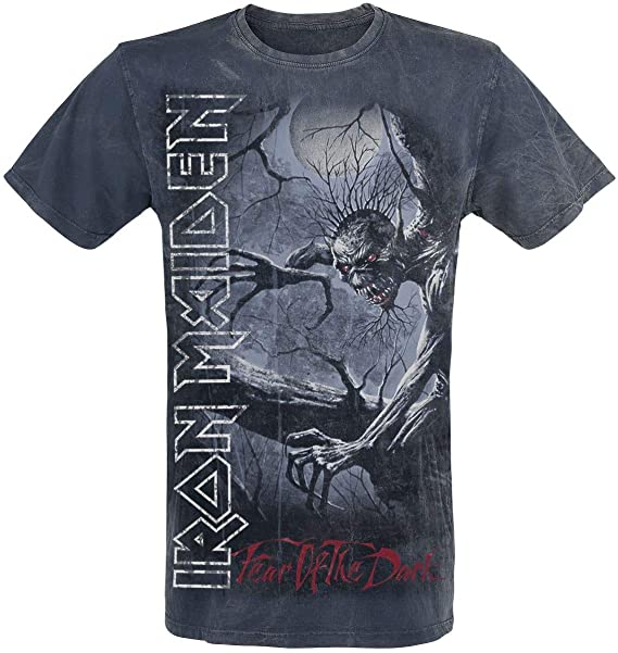 Iron Maiden Fear of The Dark Vintage Camiseta Azul Marino: Amazon.es: Ropa y accesorios