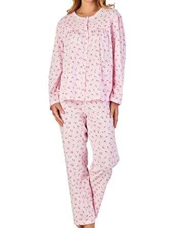 Amazon.com  Slenderella Ladies Jersey Cotton Floral   Spot Pyjamas Button  Up Top   PJ Bottoms Set (Blue or Pink)  Clothing b125bab92