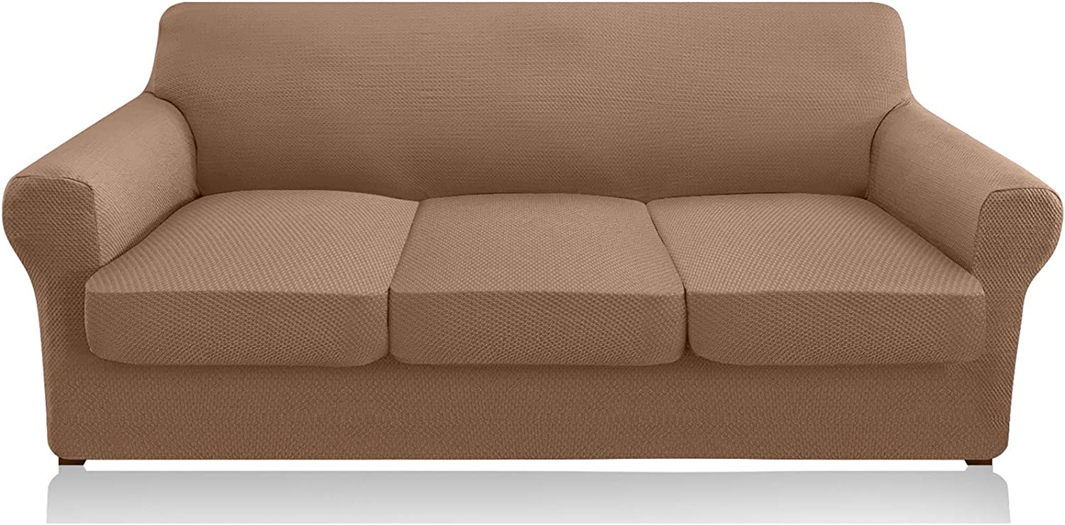 Granbest 4 Piece High Stretch Couch Covers for 3 Cushion Couch Thick Premium Sofa Slipcover Fitted Sofa Cover Furniture Protector for 3 Seat Sofas Dog Pet Proof Machine Washable (Large, Khaki)