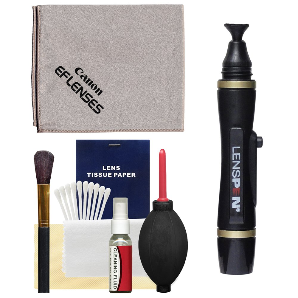 Canon Optical Lens and Digital SLR Camera Cleaning Kit with Brush, Microfiber Cloth, Fluid, Tissue, LensPen and Hurricane Blower for EOS by Canon